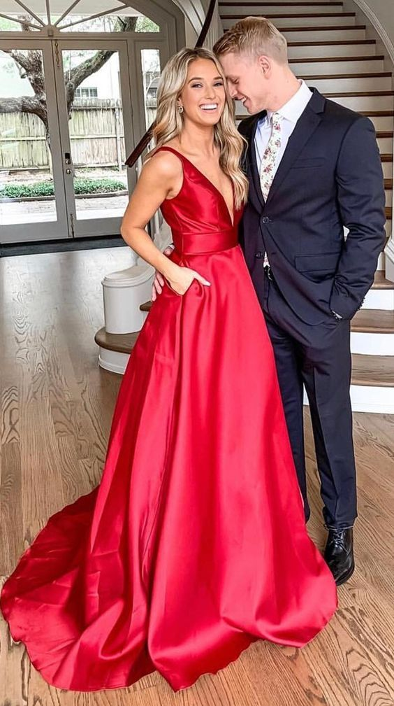 Red Prom Dress Deep V Neckline, Dresses For Event, Evening Dress ,Formal Gown, Graduation Party Dress TDP1111