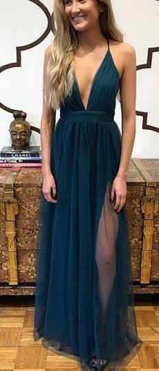 Sexy Prom Dress Slit Skirt, Dresses For Event, Evening Dress,Formal Gown,Graduation Party Dress TDP1007