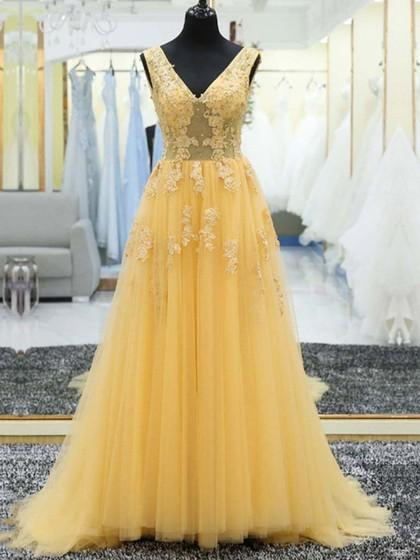 Yellow Prom Dress Long, Dresses For Event, Evening Dress,Formal Gown,Graduation Party Dress TDP1011