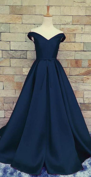 Navy Satin Prom Dress, Dresses For Event, Evening Dress,Formal Gown,Graduation Party Dress TDP1017