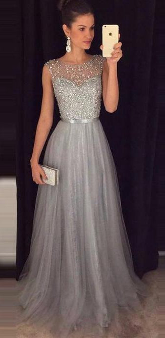 Silver Grey Prom Dress Beaded Top, Dresses For Event, Evening Dress,Formal Gown,Graduation Party Dress TDP1024