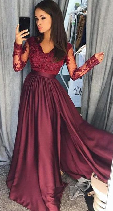 Prom Dress with Sleeves, Dresses For Event, Evening Dress,Formal Gown,Graduation Party Dress TDP1030