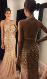 Beaded Prom Dress Halter Neckline, Dresses For Event, Evening Dress ,Formal Gown, Graduation Party Dress TDP1044
