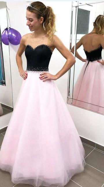 Black And Pink Prom Dress Long, Dresses For Event, Evening Dress ,Formal Gown, Graduation Party Dress TDP1053