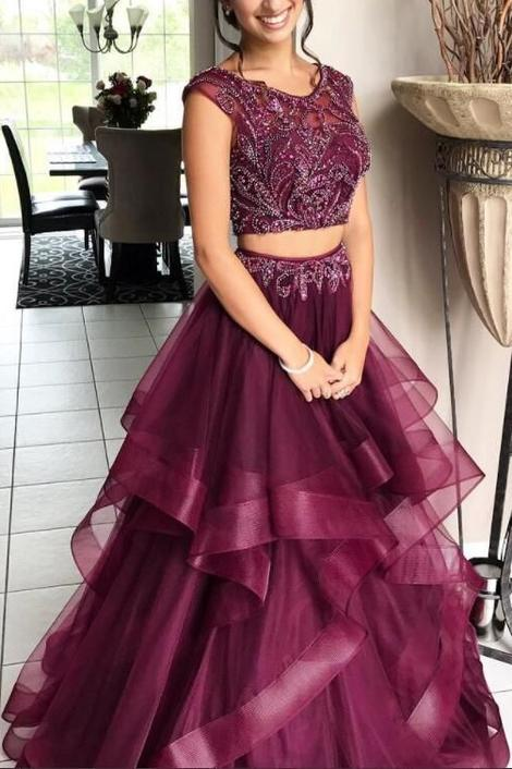 Beaded Two Pieces Prom Dress For Teens, Dresses For Event, Evening Dress ,Formal Gown, Graduation Party Dress TDP1056