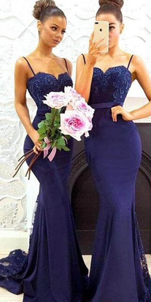 Mermaid Long Bridesmaid Dress,Custom Made Wedding Party Dress TDB1008
