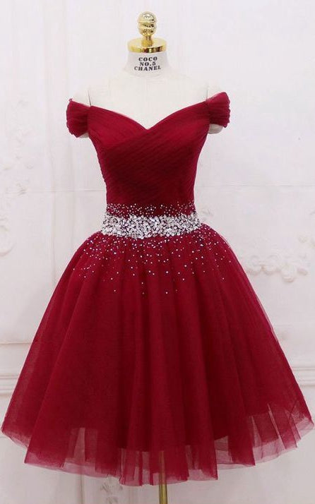 Off Shoulder Short Prom Dress, Beaded Homecoming Dress ,Fashion Graduation Party Dress TDH1008