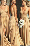 Deep V-neck Sexy Long Bridesmaid Dress,Custom Made Wedding Party Dress TDB1003