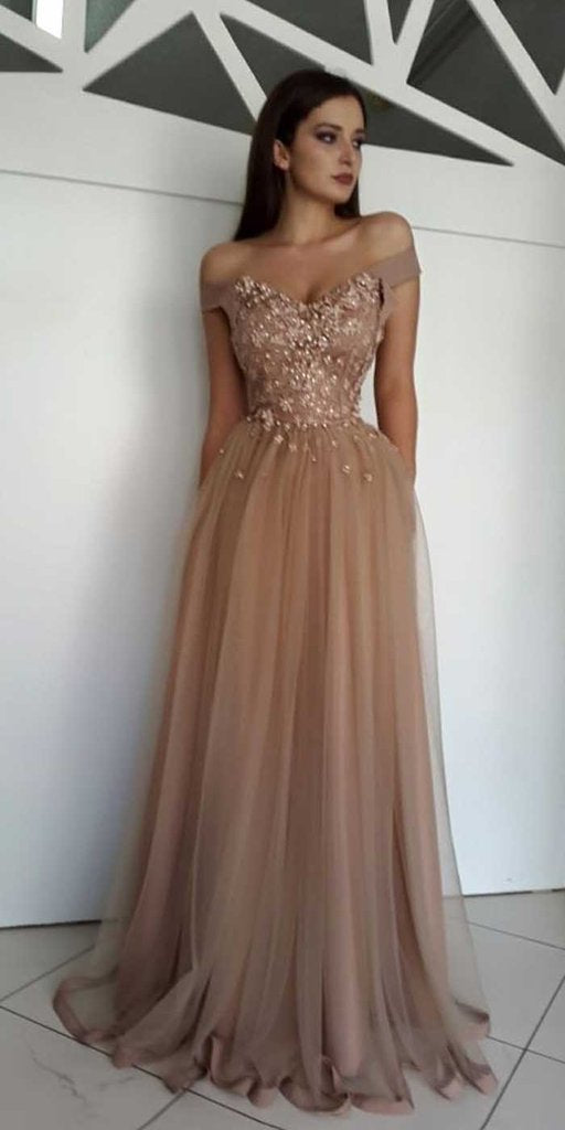 Brown Prom Dress Off The Shoulder Straps, Dresses For Event, Evening Dress ,Formal Gown, Graduation Party Dress TDP1160