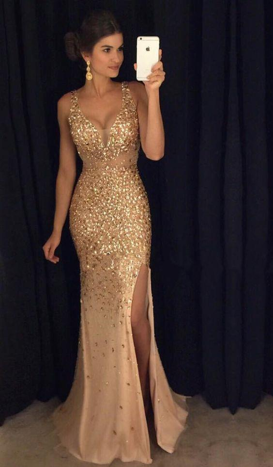 Sexy Gold Prom Dress Slit Skirt, Dresses For Event, Evening Dress,Formal Gown,Graduation Party Dress TDP1038