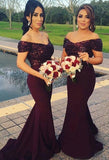 Off Shoulder Mermaid Long Bridesmaid Dress,Custom Made Wedding Party Dress TDB1014