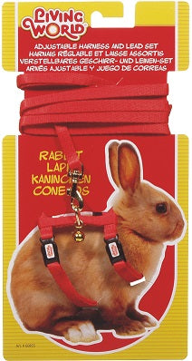 RABBIT HARNESS RED LIVING WORLD