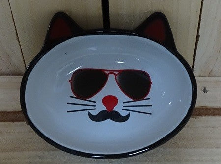 BOWL MON AMI OVAL PIERRE CAT BOWL BLACK 13CM DIA, 156ML