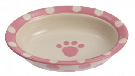 BOWL CAT OVAL PINK POLKA