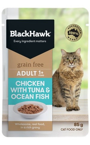 BLACKHAWK ADULT CHICK W FISH/TUNA 85G POUCH