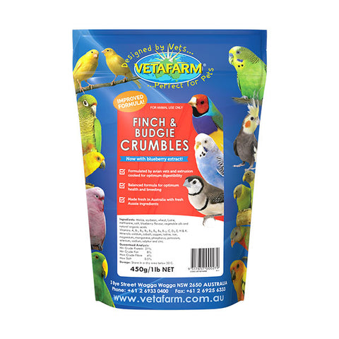 VETAFARM FINCH AND BUDGIE CRUMBLES 450G