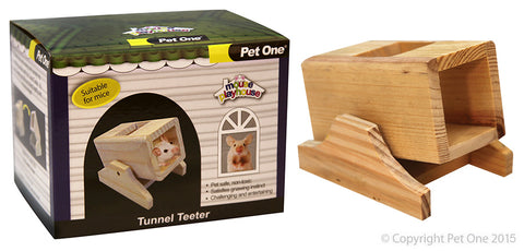 MOUSE PLAYHOUSE TUNNEL TEETER WOOD 11x8.5x9CM