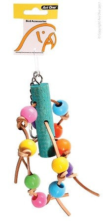 Y Parrot Toy Leather With Acrylic Beads 11x30cm
