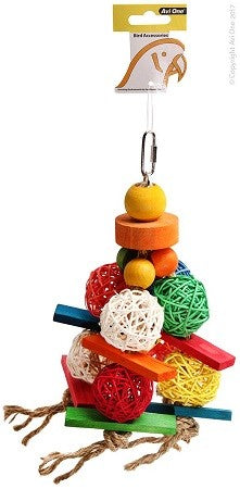 Y Avi One Parrot Toy Wicker Balls with Wood 20x26cm
