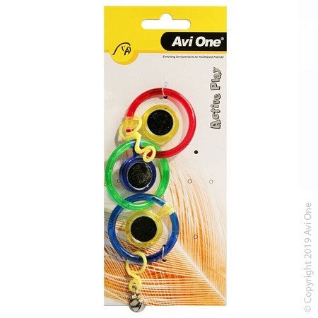 Bird Toy Triple Ring With Mirror With Bell 21cm