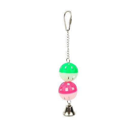 BIRD TOY TWO LATTICE BALLS & BELL