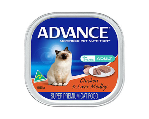 ADVANCE ADULT CHICKEN/LIVER MEDLEY 85G
