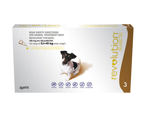 REVOLUTION DOG 5.1KG - 10KG BROWN 3PK