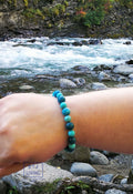Glacier Ice Bracelet on wrist at river men's handmade beaded bracelets from your premier jewelry dealer