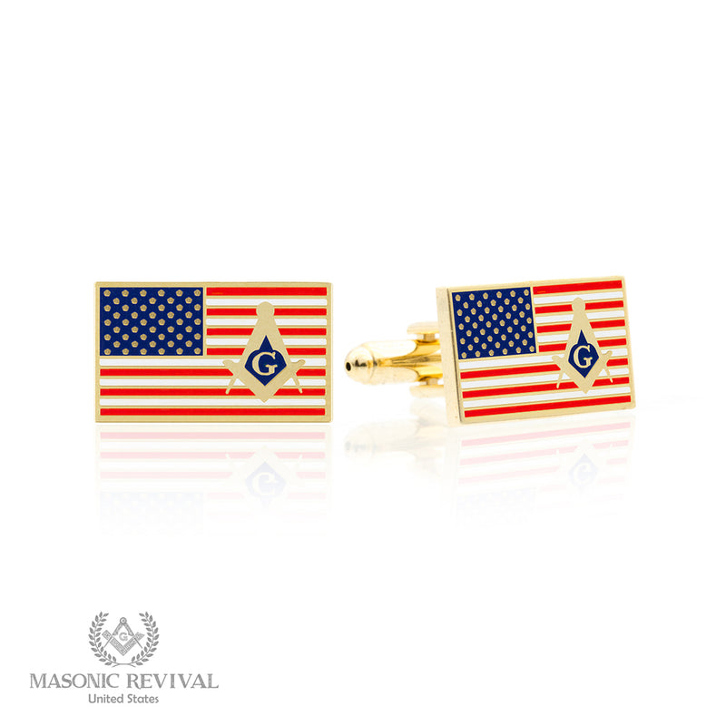 USA Flag Cufflinks // Gold