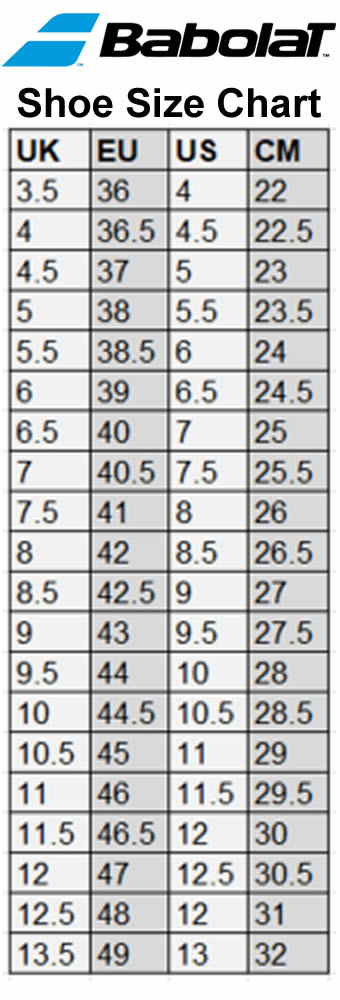 Babolat International Badminton Shoes Size Chart