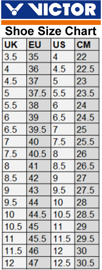 Victor International Badminton Shoes Size Chart
