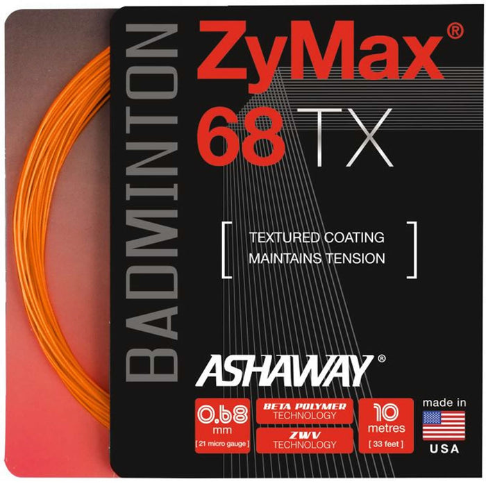 Ashaway Zymax 68 TX Badminton String Orange- 0.68MM - 10m Packet