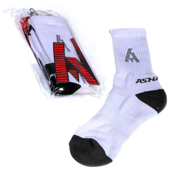 Ashaway Badminton Socks - White / Black Badminton HQ