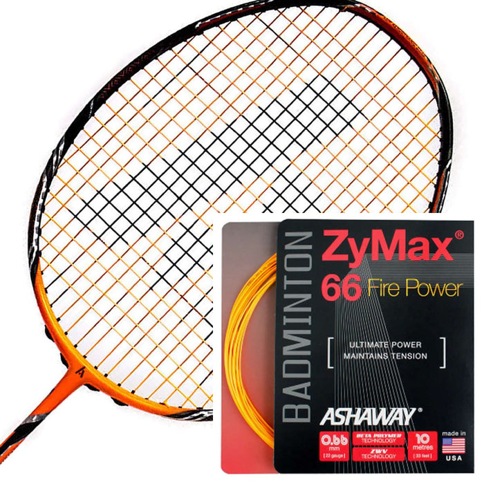 Ashaway Zymax 66 Fire Power Badminton String Orange  - 0.66MM - 10m Packet