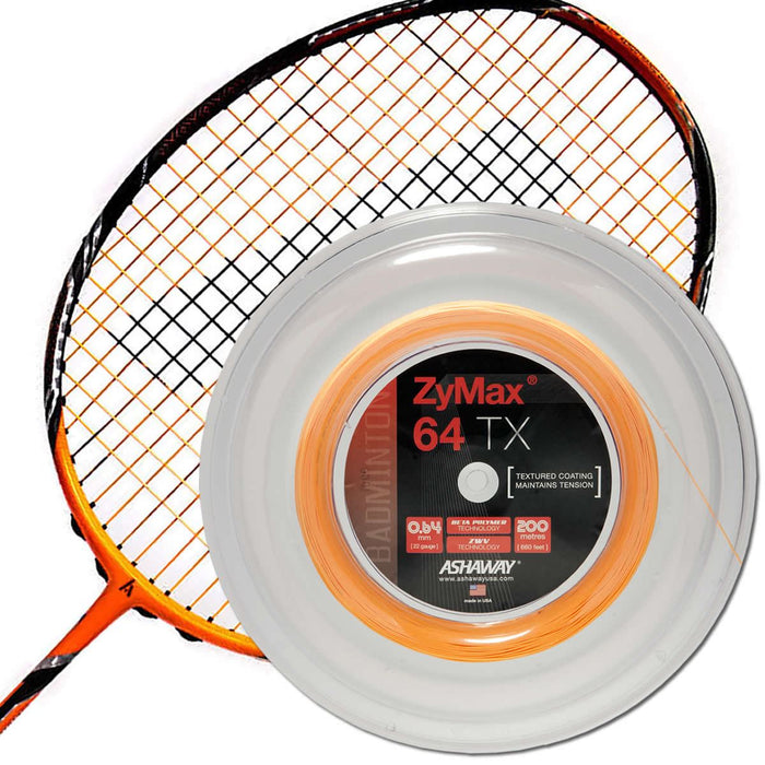 Ashaway Zymax 64 TX Badminton String Orange- 0.64MM - 200m Reel