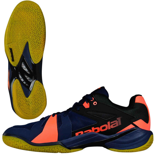Babolat Shadow Spirit Badminton Shoes - Navy Blue Fluo Orange