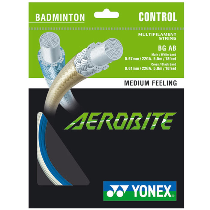 Yonex AeroBite Badminton String White Blue - 0.67/0.61mm10m Packet