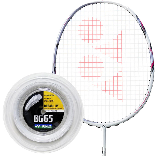 Yonex BG 65 Badminton String White - 0.7mm 200m Reel