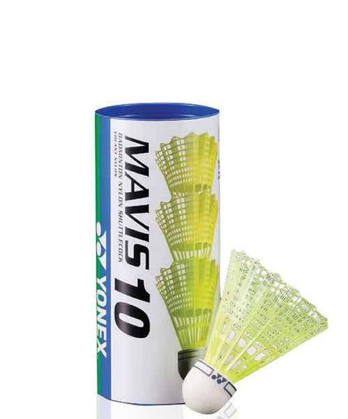 Yonex Mavis 10 Badminton Nylon Shuttles / Shuttlecocks Yellow - Set of 3