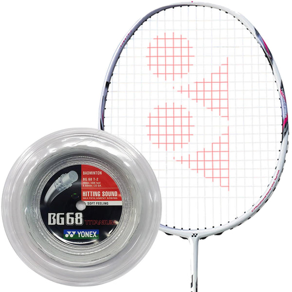 Yonex BG 68 Ti Badminton String White - 0.68mm 200m Reel
