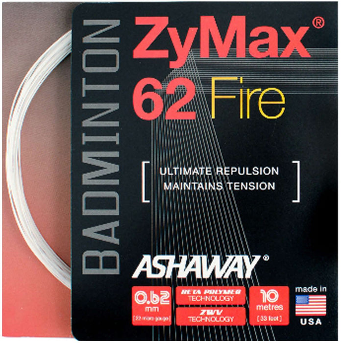 Ashaway Zymax 62 Fire Badminton String White  - 0.62MM - 10m Packet