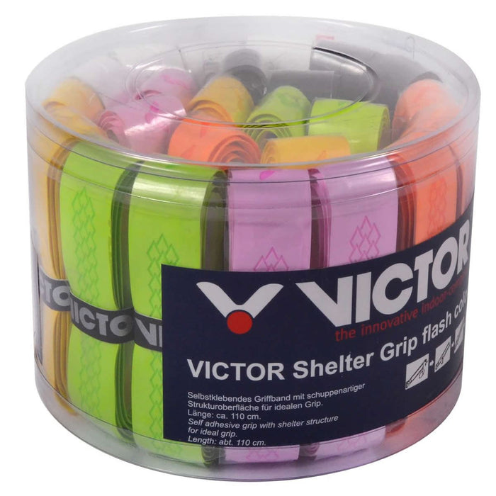 Victor Shelter Badminton Racket Grip - Box of 24 Assorted Colors