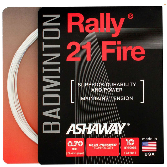 Ashaway Rally 21 Fire Badminton String White - 0.70mm - 10m Packet