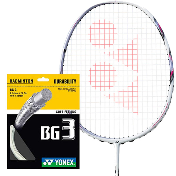 Yonex BG 3 Badminton String White - 0.74mm 10m Packet