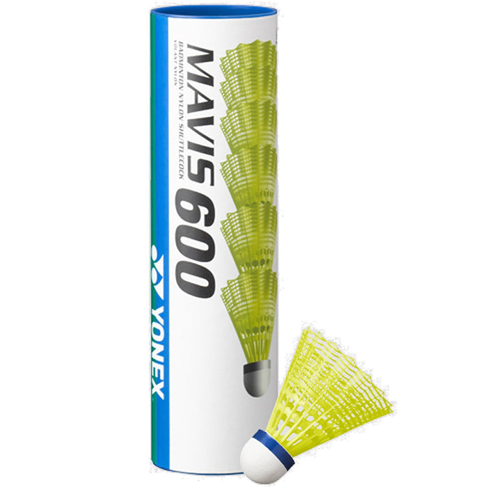 Yonex Mavis 600 Badminton Nylon Shuttles / Shuttlecocks Yellow - Set of 6