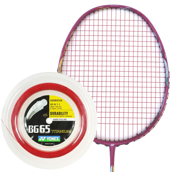 Yonex BG 65 Ti Badminton String Red - 0.7mm 200m Reel