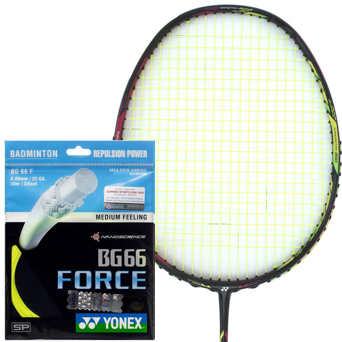 Yonex BG 66 Force Badminton String - 0.65mm Yellow 10m Packet