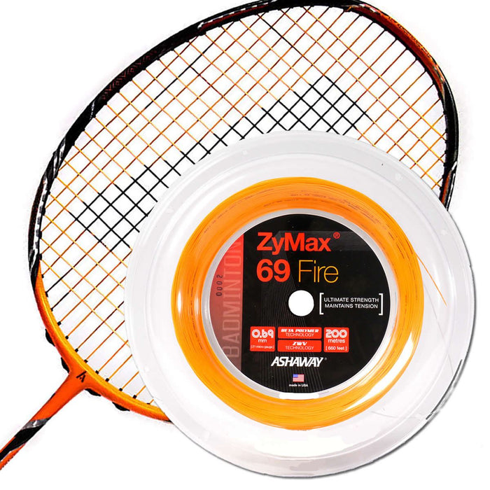 Ashaway Zymax 69 Fire Badminton String Orange  - 0.69MM - 200m Reel