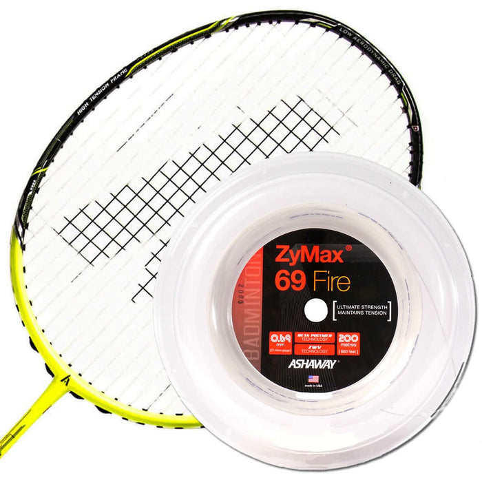 Ashaway Zymax 69 Fire Badminton String White  - 0.69MM - 10m Packet