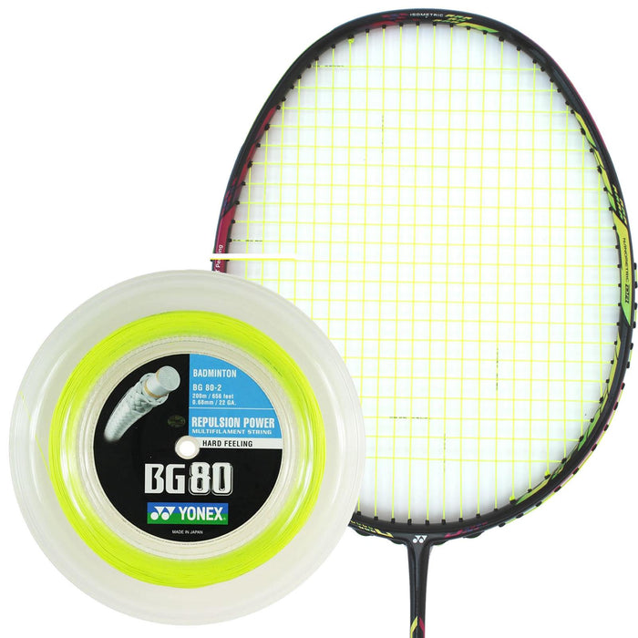 Yonex BG 80 Badminton String Yellow - 0.68mm 200m Reel